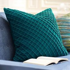 Plumped with feathers and covered in soft, textured velvet, our Textured Velvet Pillows are more than just a pretty pops of color. They'll provide welcome cushioning support as you read, nap, or cuddle up for movie night.                Square pillows with a fluffy grid texture on soft velvet                    Bumpy grid pattern gives a boost of fun texture to any sofa or chair                    Handwoven                    100% velvet cover                    100% down filler         ...