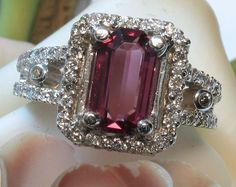 Purplish Red Spinel & Diamond Platinum Ring - Designer Signed- FREE SHIPPING Canada & USA