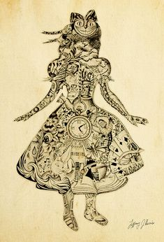 Collage of Alice in Wonderland