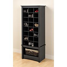 Broadway Black Tall Shoe Cubbie Cabinet