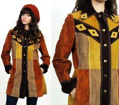70's Patchwork Suede Leather Hippie Boho Coat jacket XS/S