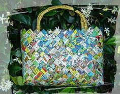 How to make a wrapper purse using recycled materials such as candy wrappers, chip bags and even paper