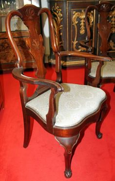 Armchairs, Chippendale, mahogany, 1910 - 105 cm x 65 cm x 50 cm (h x w x d), www. Armchairs, Sofas, Antique Furniture, Antiques, Home Decor, Wing Chairs, Couches, Antiquities, Antique