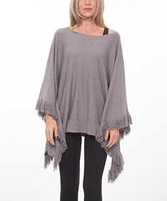 Love this Gray Fringe Poncho on #zulily! #zulilyfinds