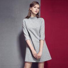 Robe Courte pour femme avec col roulé manches mi-longues Mi Long, Bristol, High Neck Dress, Sweaters, Inspiration, Style, Dresses, Fashion, Sweater Dress Outfit
