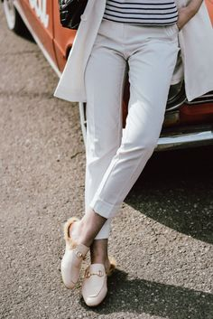 a413f67f6ad Kendall Jenner Gucci Fur-Lined Princetown Loafers. Basic white mango  tailored trousers