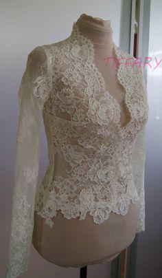 Wedding bolero-jacket of lace long sleeveshort sleeve 3/4