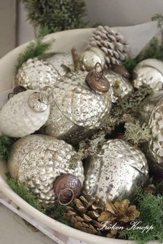 Mercury Glass Ornaments in antique bowl with fresh evergreen, moss and gold spray painted pinecones. Love this Farmhouse Christmas decor! Woodland Christmas, Silver Christmas, Christmas Past, Merry Little Christmas, Primitive Christmas, Vintage Christmas Ornaments, Rustic Christmas, Christmas Holidays, Christmas Decorations