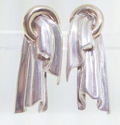 Vintage Modernist Tiffany Sterling Silver 14k Gold earrings RARE Hallmarks #TiffanyCo