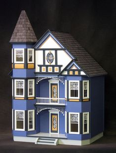 FREE SHIPPING, The Great Painted Lady Victorian Wooden Dollhouse Kit with Turntable, Treasury List, Scale One Inch