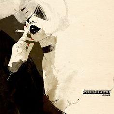 """Manuel Rebollo. Illustration & Design: Daily Illustration: """"Coffee & Cigarettes"""""""