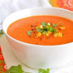 Roasted Red Pepper, Corn, and Tomato Soup