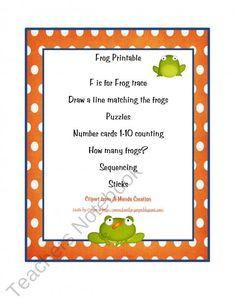 Frog Printable product from Preschool-Printable on TeachersNotebook.com