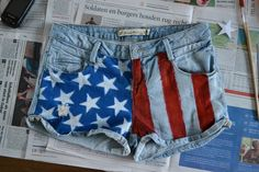 DIY American Flag shorts. I love these!