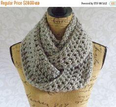 ON SALE Infinity Scarf Crochet Knit Silver by SouthernStitchesCo