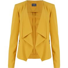 M&S Collection Open Front Zipped Pockets Waterfall Blazer ($58) ❤ liked on Polyvore featuring outerwear, jackets, blazers, blazer, yellow, long sleeve jacket, stretch blazer, waterfall jacket, pocket jacket and waterfall blazer