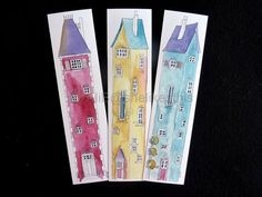Book Marks Tall houses 6 Cards in a set printed from my design on thick card. These fun illustrations are taken from my original works and look great framed to keep, or as gifts, but you can use them as book marks..  6 different colourful tall houses in pinks blue and yellow. Make great gifts  Art for your favourite book or to frame From my original painting these prints look great framed see - blog.painting.me.uk  Professionally Scanned and Printed on heavy white card Approx. size 2 x 8…