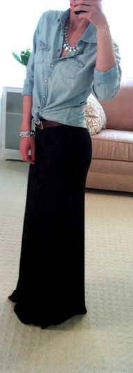 Maxi + Denim- I would love a maxi skirt /dress but I would need a petite length- I have a long torso and short legs.