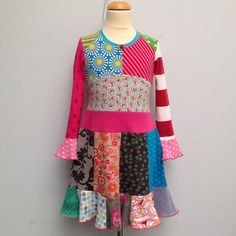 Size 55 years up to 7years girls upcycled tshirt twirl by dressme, $47.50