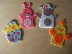 Felt Finger Puppets Spring Animals. Rabbit Baby by MakeStitchKnit, $18.50