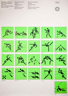 """[Official 'very news' logotypes symbols of the 21 disciplines at the Olympics in München""""] ~ Original Graphic Design by Otl 'Otto' Aicher (b. 1922 - d. Max Bill, Sketch Design, Icon Design, Poster Design, Logo Design, Helmut Schmid, International Typographic Style, Otl Aicher, Pictogram"""