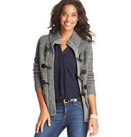 """Wool Blend Toggle Sweater Jacket - Done in a rich wool blend, cool days just got a lot cuter with this marvelously chunky sweater jacket - starring adorable toggle closures. Funnel neck. Long sleeves. Zip front. Patch pockets. Ribbed collar, cuffs and hem. 24"""" long."""