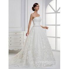 Finding A-line Strapless Applique Floor-length Chapel Train Wedding Dress
