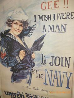 Antique Vintage 38 x 25 1917 WWI US Navy Military Poster Rare Recruiting Enlist