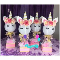 I am looking forward to creating AWE some centerpieces for your special event. ALSO AVAILABLE FOR BABY SHOWER - PACIFIER AND BOTTLE GIVEAWAYS https://www.etsy.com/listing/565171028/12-unicorn-baby-shower-bottle-andor?ref=shop_home_active_1 Ideal for 1st Birthday Party/