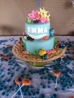 Nemo or Dory party cake Dory Birthday Cake, First Birthday Parties, Birthday Party Themes, Birthday Bash, Birthday Ideas, Party Themes For Boys, Cupcakes, Party Cakes, Finding Dory Cakes
