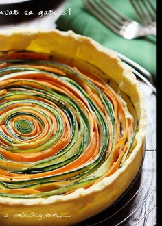 "If you're having self-serve buffet for your wedding, then this vegetable tart is a must! Almost too beautiful to eat..  From premier Issue of ""What Liberty Ate""  via Issuu"