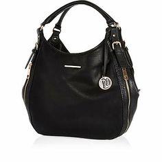 Black Zip Side Slouch Bag 35 00 Bagsbeautiful Bagsthe Riverriver Islandshoulder