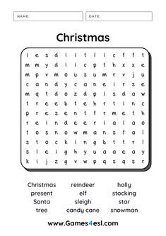 Download and print this Christmas word search and other Christmas worksheets for free.