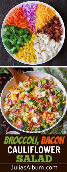 Creamy Broccoli, Cauliflower, Corn, Bacon Salad with Sliced Carrots, Diced Red Onions, and shredded Sharp Cheddar Cheese. #sidedish #holidays