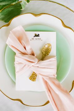 valentine table setting with gold spoon - elegant