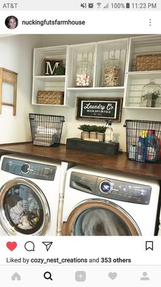Laundry room with crates cubby's for storage