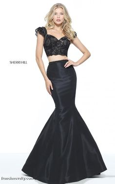 Sherri Hill 51230 is a 2-piece prom dress with a lace cap sleeved crop 74c651e18df5
