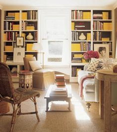 Warm neutrals + yellow accents: Library by Jeffrey Bilhuber, featured in Elle Decor by xJavierx, via Flickr