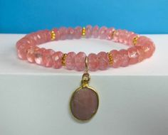Heart Stack Solo - Cherry Quartz with Pink Agate Teardrop $75.00
