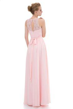 Elegant Bridesmaid көйлек Ұзын 2017 Ашық қызғылт шифон кружевой жоғары  мойын Vestido Madrinha Wedding Party Guest Dresses 442b5d357305