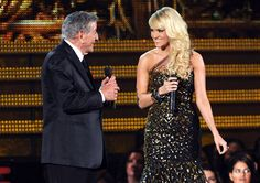 Tony Bennett and Carrie Underwood perform at the 2012 Grammy Awards