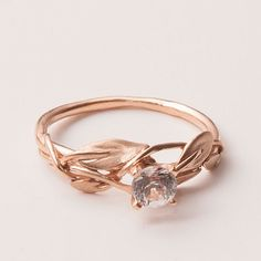 Leaves Engagement Ring - 18K Rose Gold and Diamond engagement ring, engagement ring, leaf ring, filigree, antique, art nouveau, vintage via Etsy