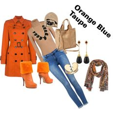 """""""Orange Blue Taupe"""" by telley-m-jay on Polyvore"""