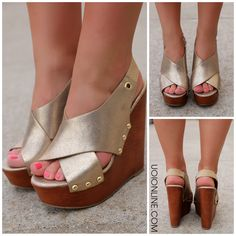 Gold Peep Toe Wedges MABEL – UOIOnline.com: Women's Clothing Boutique