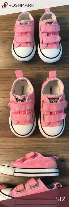 Pink Converse for toddler Cute pink Velcro Converse sneakers. Show some signs of wear (accurately showed in pics) but still have plenty of miles left in them! Converse Shoes Sneakers