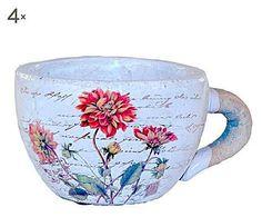 Mrs Pot: Set de 4 tazones maceteros de cerámica y barro flores – blanco, rojo y verde