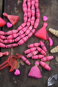 Hot Pink Barrel : Hand Painted Grooved Tube Bone Beads, 10x25mm, Boho, Tribal Large Hole Beads, Spring Jewelry Making Supplies, 9 pcs by WomanShopsWorld