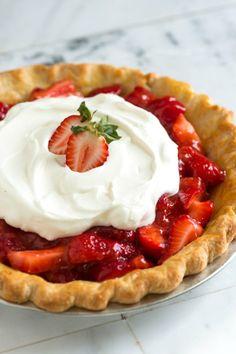 Simple Strawberry Pie Recipe: pie crust, strawberries, cornstarch, sugar, vanilla, egg yolk-for crust
