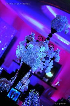 Who says #flowers need to be the main part of a #centerpiece, #bling adds a more #glamorous feel! designed by planner @Tiffany Cook. For more, check out dreamdesignweddings.com