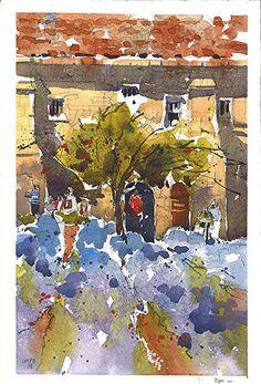 "Van Gogh's Garden- Provence by Iain Stewart Watercolor ~ 10.25"" x 6.5"""